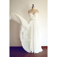 A-line Wedding Dress Simply Sublime Floor-length Sweetheart Chiffon with Sash / Ribbon – USD $ 119.99