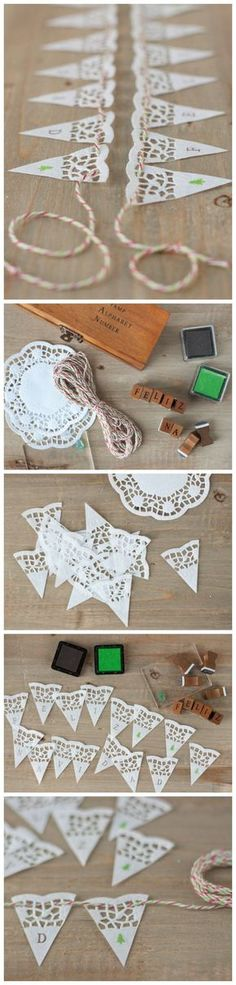 Slinger gemaakt van taartrand. Doily Garland, Doily Bunting, Flag Garland, Paper Banners, Paper Garlands, Paper Bunting, Buntings, Paper Doilies Wedding, Lace Doilies