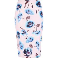 Light pink floral print pencil skirt
