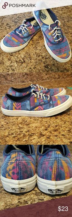 Aztec VANS OTW Cool Aztec print in brights. Classic Off the Wall Lows. Nice used condition. Only flaw, a small wear spot (pic 4). Women's 9, men's 7.5. Price reflects wear. These are awesome. I ship fast! Vans Shoes Athletic Shoes