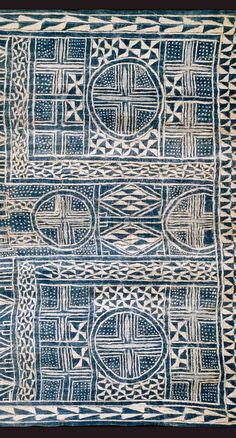 Africa   N'dop, ceremonial hanging. Cameroon   Narrow strip woven cotton, stitch resist indigo-dyed    Detail ~ Partial view: