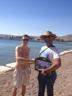 Me and Roman Alterman on the beach in Eilat.