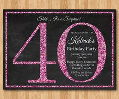 40th birthday invitation for Women. Pink Glitter by arthomer, $10.00