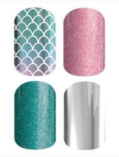 Nails shield mixed mani combo at joywood@jamberrynails.net. From top left clockwise: Mermaid Tales, Pixie, Barely Blue, and Metallic Chrome Silver.