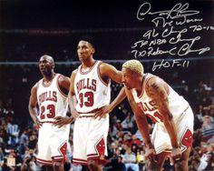 Dennis Rodman Signed 16x20 Stat Photo w/ Michael Jordan