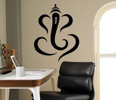 Hindu Ganesha Lord Wall Vinyl Decal Indian Elephant Wall Sticker Interior Bedroom Decor Asia India W Wall Sticker Design, Vinyl Wall Decals, Wall Design, Wall Stickers, Door Design, Ganesha Drawing, Ganesha Painting, Ganesha Art, Ganesh Rangoli