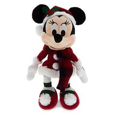"Disney Parks Santa Retro Minnie Mouse Christmas 9"" Plush New with Tags"