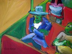 En el tren con sombrero , acrylic on canvas, 65 x 45 cm, 1999 . Venta de pinturas sobre trenes. Paintings of trains for sale. venda de pinturas de trens.
