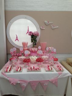 Mesa Chuches París - Bar à bonbons rose - Pink candy buffet (sweet table) Red Party, Candy Party, Candy Bar Comunion, Pink Candy Buffet, Wedding Candy Table, Baby Shower Fruit, Bar A Bonbon, Ballerina Party, Paris Party