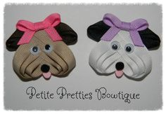 How cute are these little puppies?! Made entirely out of grosgrain ribbon, complete with a pretty bow and googly eyes, your Puppy will measure