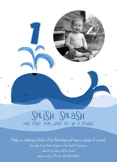 Whale Custom Birthday Party Invitation