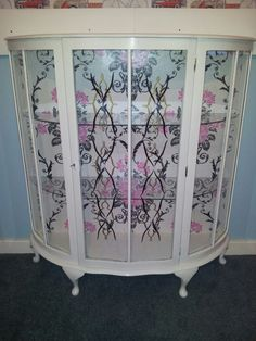 Vintage Shabby Chic Glass Bow Fronted China or Display Cabinet ...