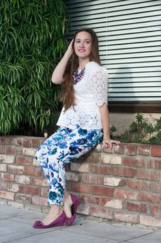 Incredible floral Sew Over It Ultimate Trousers | Sweet Red Poppy