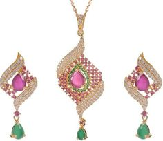 Buy green pink white Pendant Set Online at Low Prices in India | Amazon Jewellery Store - Amazon.in