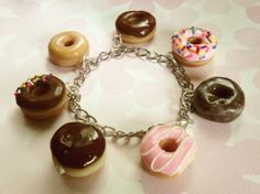 box of donuts polymer clay charm bracelet by ScrumptiousDoodle, $30.00