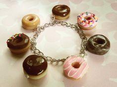 box of donuts polymer clay charm bracelet doughnut charms