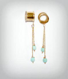 Golden ear plugs with larimar Ear plugs Dangle by triballook