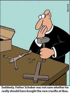 All of our crucifixes come 100% assembled  #Catholic #crucifix #humor