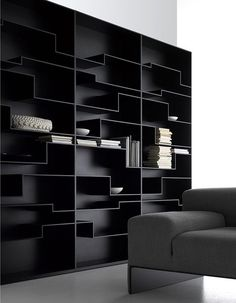 MDF Italia furniture is based on innovation, design, removal of the superfluous and development of new materials. Cool Bookshelves, Bookcase Shelves, Bookcases, Bookshelf Design, Cool Furniture, Furniture Design, Bibliotheque Design, Black Shelves, Black Bookcase