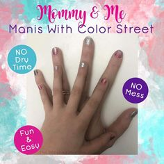 You and your mini me can both enjoy Color Street! Street Game, Interactive Posts, Facebook Party, Nail Polish Strips, Color Street Nails, Mommy And Me, Hair Pins, Manicure, Fun