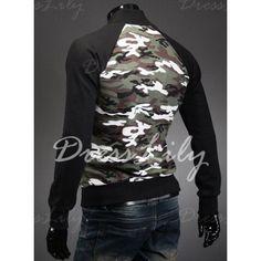 Trendy Slimming Stand Neck Long Sleeves Camo Print Color Splicing Men's Cotton Blend Sweatshirt