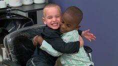 The only difference these preschoolers see is their haircut - not their race.