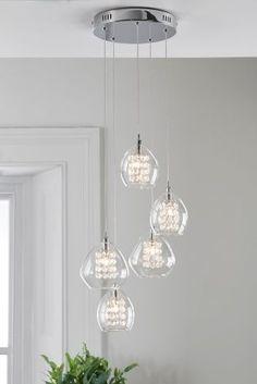 Next Buy Bella 5 Light Cluster from the Next UK online shop Next Kaufen Sie Bella 5 Light Cluste Lighting Uk, Flush Lighting, Dining Room Lighting, Chandelier Lighting, Lighting Ideas, Stair Lighting, Hallway Ceiling, Ceiling Lights, Dining Room