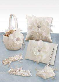 DbBridalStyle...Layers of satin, French netting and feathers finished with a jeweled piece in the center embellish the matte bridal satin on all pieces in the Gift Set. The set includes: Guest Book, Ring Pillow, Flower Girl Basket, Penholder, and Garter Set. A smooth fabric often used in bridal gown design because of its exquisite drape.A smooth fabric often used in bridal gown design because of its exquisite drape.