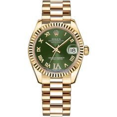Rolex Datejust 31mm Yellow Gold 178278 Olive Green VI Roman President... (€22.040) ❤ liked on Polyvore featuring jewelry, watches, polish jewelry, crown jewelry, roman numeral jewelry, green gold jewelry and green watches