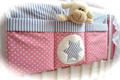 grosse Bett Tasche, Utensilo, rosa-grau von Elfen-Kinder auf DaWanda.com