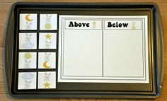 Above and Below the Easter Bunny Sort Cookie Sheet Activity--Focuses on positional concepts.  Students sort the pictures into two categories based on whether the bunny is above or below a given object.