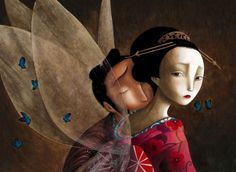 "Benjamin Lacombe - Illustration - ""The Butterfly Lovers"" Geisha Art, Atelier D Art, Madame Butterfly, Fan Art, Children's Book Illustration, Art Illustrations, Childrens Books, Fantasy Art, Fairy Tales"