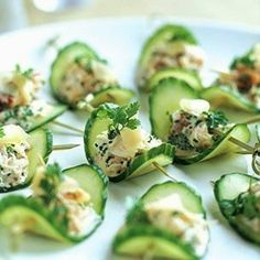 with Pickled Ginger and Crab Cucumber Slices w/ Crab & Chili Paste (drop the toothpicks.needs chives - lump crabmeat) Small BiteCucumber Slices w/ Crab & Chili Paste (drop the toothpicks.needs chives - lump crabmeat) Small Bite Cold Appetizers, Appetizers For Party, Appetizer Recipes, Cucumber Appetizers, Canapes Recipes, Canapes Ideas, Toothpick Appetizers, Party Canapes, Salad Recipes