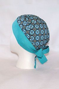 Pixie Tie Back Surgical Scrub Hat Turquoise Medallions Adorable
