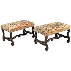 """William III Walnut Stools with Os De Mouton Legs and Conforming Stretcher. $14,000.00 ... 18th century stools, in walnut, upholstered with 16th century Tapestry fragments, one stool with a wonderful child petting his dog and the second one sporting a eagle. Both tapestries are in wonderful detail repaired condition. The stools are almost identical to a stool pictured in the book """"an Encyclopedia of English Furniture"""" by Oliver Brackett. The reference is Boughton House."""