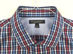 BANANA REPUBLIC Men's Non-Iron Slim Fit Long Sleeve Dress Shirt L Check Red Blue #BananaRepublic