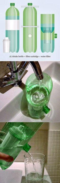 EL MUNDO DEL RECICLAJE: DIY jarra con filtro con dos botellas de agua