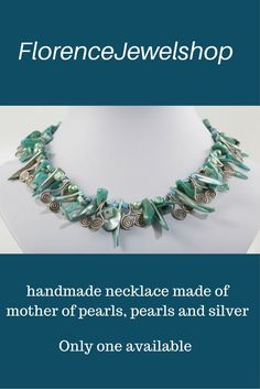 The mother of pearl  The mother of pearl  The mother of pearl amd silver necklace looks gorgeous on a white dress or shirt, but also on green and shades of blue it looks stunning.  This necklace will be perfect on every happy gathering. The shape of the mother of pearl beads and the Thai silver curly elements make you happy, even when you are a bit sad. You will look wonderful with this necklace. � 100. Learn more:  www.etsy.com/...