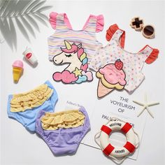 Tonytaobaby One-Piece Girls Swimsuit New Unicorn Ice Cream Swimwear Kids Girl Unicorn Ice Cream, Swimsuits, Swimwear, Kids Girls, One Piece, Clothing, Baby, Bathing Suits, Outfits