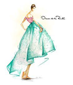 Oscar de la Renta S/S 2013 by fashion illustrator Hello|Claire www.helloclaire.com