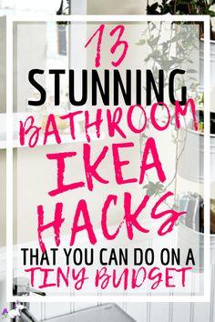IKEA Bathroom Hacks 13 Ways To Get Your Dream Bathroom (On a Budget) is part of diy-home-decor - These IKEA bathroom hacks will show you how you can easily transform your bathroom on a budget! The best IKEA hacks for your bathroom organization & decor! Bathroom Hacks, Ikea Bathroom, Budget Bathroom, Bathroom Organization, Bathroom Ideas, Bathroom Gadgets, Spa Bathroom Decor, Spa Inspired Bathroom, Bathroom Closet