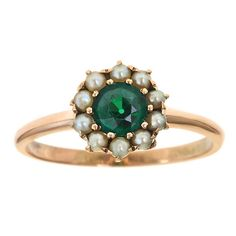Victorian Emerald and Seed Pearl Ring from Prather Beeland, Inc.