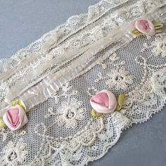 Antique French LACE Flapper Headband Bed Cap w Pink SILK Ribbonwork Rosettes