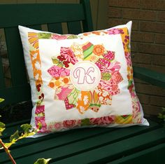 Dresden pillow with embroidered initial. Love it.