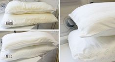 How to wash & whiten yellowed pillows ? Make your Yellow Pillows Look Like New Again with this DIY Whitening Solution.If your pillows aren't as white as Yellow Cushions, White Pillows, Floor Cushions, Bed Pillows, Wash Pillows, Bolster Pillow, Homemade Cleaning Supplies, Cleaning Hacks, Laundry Whitening