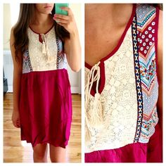 Maroon Boho Embroidered Top with Tie Back Super cute! Tie back to make it fitted or unfitted! Sizes S (2-4) M (6-8) and L (10-12) Dresses