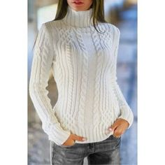 Knitting Patterns Sweaters Charming Solid Color Turtleneck Twist Wave Thick Pullover Sweater For Women Casual Sweaters, Cable Knit Sweaters, White Sweaters, Pullover Sweaters, Cheap Sweaters, Adrette Outfits, Preppy Outfits, Preppy Style, Winter Outfits