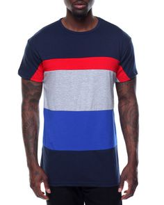 Find Tri - Stripe Color - Block S/S Tee Men's Shirts from Basic Essentials & more at DrJays. on Drjays.com