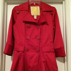 Red Wet Seal Light Weight Jacket The coat is in good condition, light weight, and size medium.  It has no stains but one of the pockets has a hole in the lining.  You can't see it it as the lining in one pocket. Host Pick 5/16 Fresh Fashion Party!!! Wet Seal Jackets & Coats