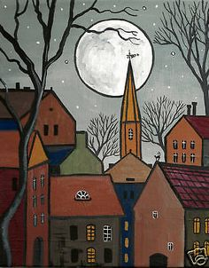 PRINT OF PAINTING 8x10 RYTA HOUSES ABSTRACT FOLK ART BLACK CAT VINTAGE STYLE